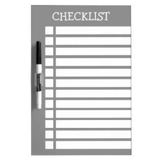 Grey And White Checklist Dry Erase Board