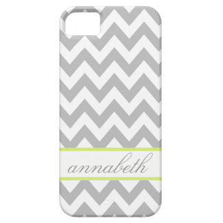 Grey and White Chevron Green Monogram iPhone 5 Cover