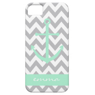 Grey and White Chevron Mint Anchor Monogram Case