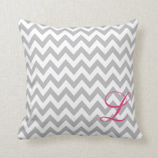 Grey and White Chevron Monogram Nursery Pillow