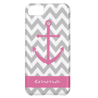 Grey and White Chevron Pink Anchor Monogram Case