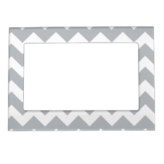 Grey and White Chevron Stripe Magnetic Frame