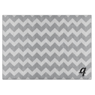 Grey and White Chevron Stripe Monogram Cutting Board