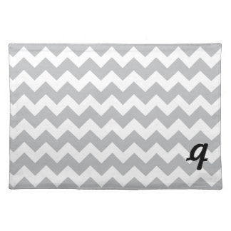 Grey and White Chevron Stripe Placemat