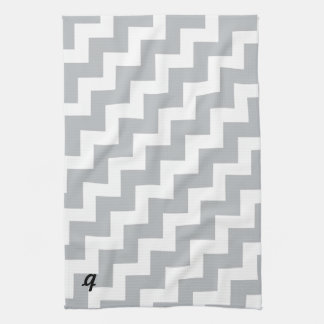 Grey and White Chevron Stripe Tea Towel