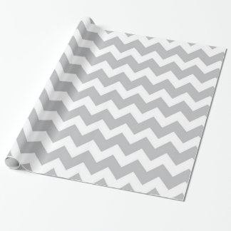 Grey and White Chevron Stripe Wrapping Paper