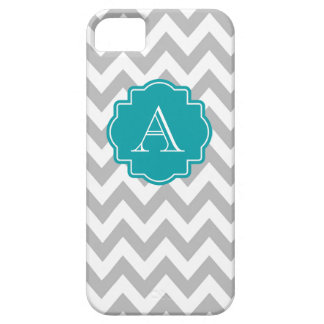 Grey and White Chevron Teal Monogram iPhone 5 Cases