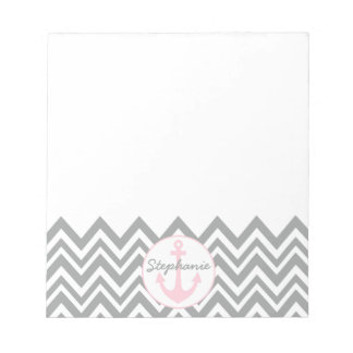 Grey and White Chevron with Pastel Pink Nautical Notepad