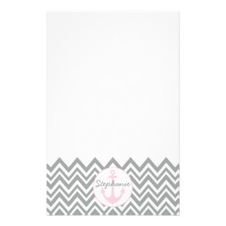 Grey and White Chevron with Pastel Pink Nautical Stationery