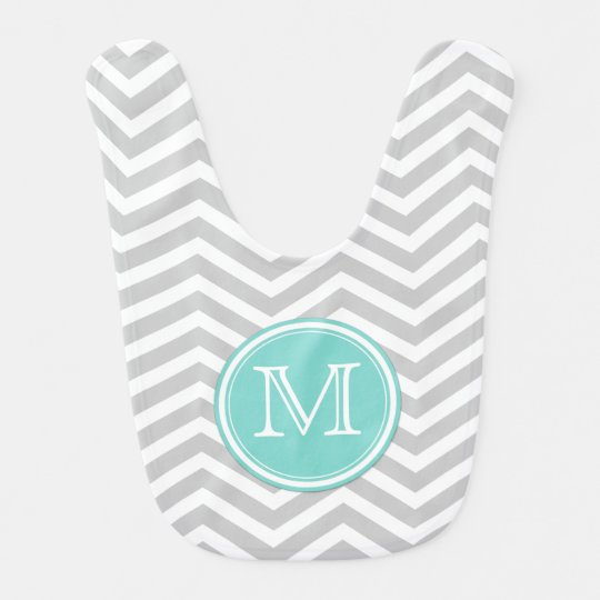 Grey and White Chevron with Teal Blue Bib