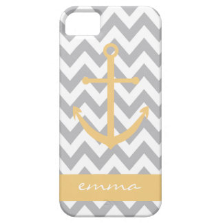 Grey and White Chevron Yellow Anchor Monogram Case