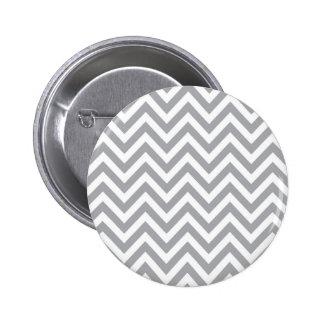Grey and White Chevron  Zigzag Pattern 6 Cm Round Badge