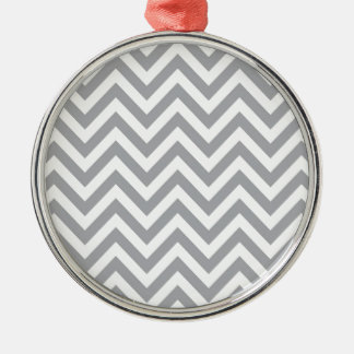 Grey and White Chevron  Zigzag Pattern Christmas Ornament