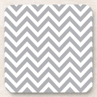 Grey and White Chevron  Zigzag Pattern Coaster