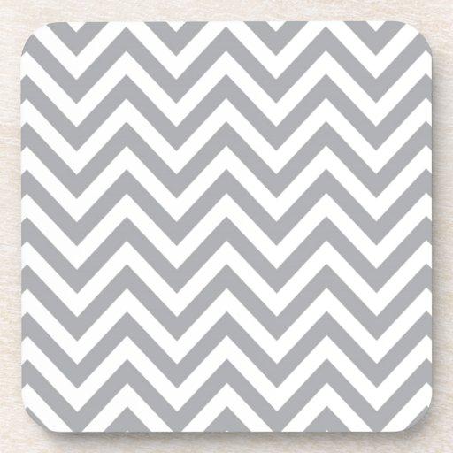 Grey and White Chevron  Zigzag Pattern Coasters