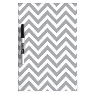 Grey and White Chevron  Zigzag Pattern Dry Erase Board