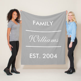 Grey And White Custom Family Name Fleece Blanket