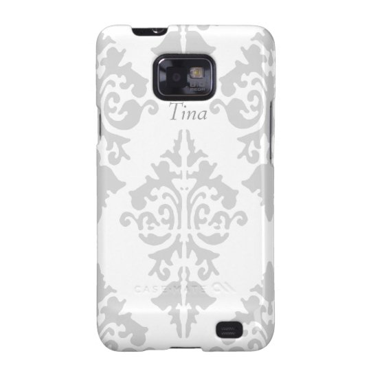 Grey and White Damask Cell Phone Case
