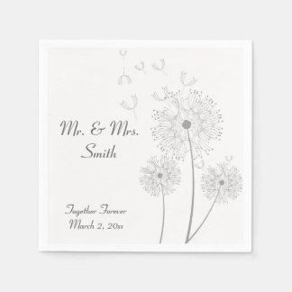 Grey and White Dandelion Wedding Napkins Disposable Serviette
