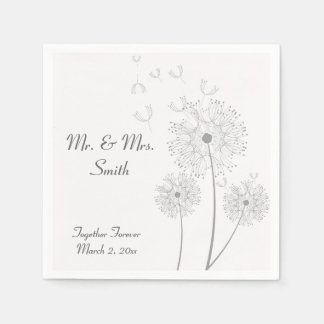 Grey and White Dandelion Wedding Napkins Paper Napkin