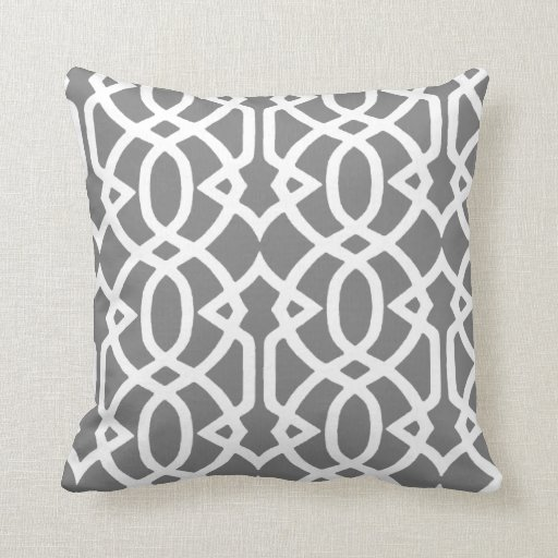 Grey and White design Pillow