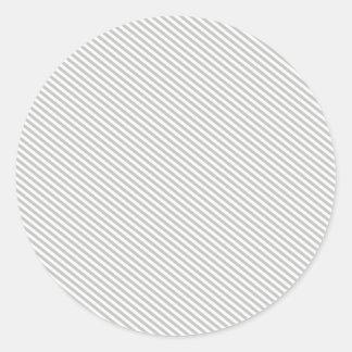 Grey and White Diagonal Stripes Round Sticker