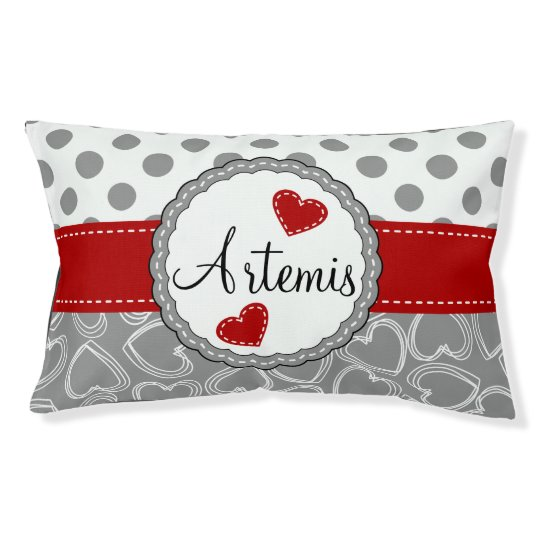 Grey and White Dots and Hearts Dog Bed