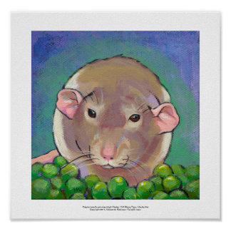 Grey and white dumbo rat painting fun art poster