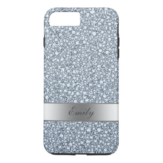 Grey And White Encrusted Diamonds Glitter Pattern iPhone