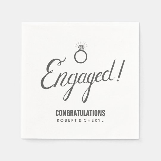 Grey and White Engagement Party Napkins Paper Serviettes