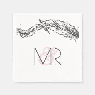 Grey and White Feathers Elegant Wedding Paper Serviettes