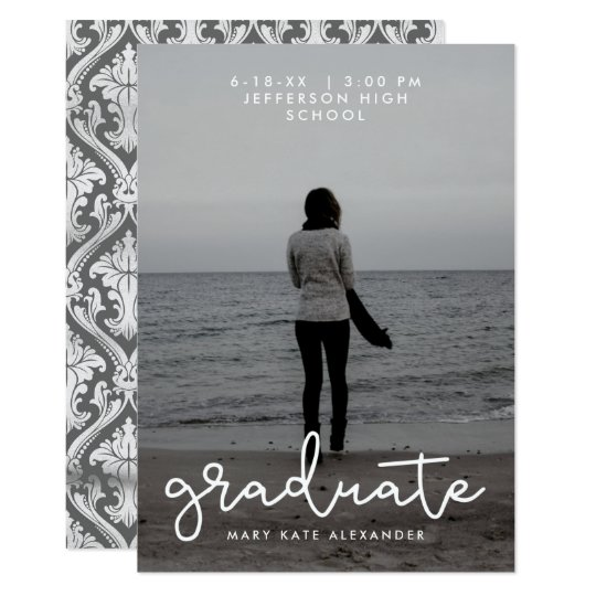 Grey and White Graduation Photo Announcement