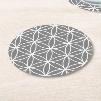 Grey and White Graphic Lotus Flower Design Round Paper Coaster