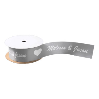 Grey And White Hearts With Wedding Couple Names Satin Ribbon