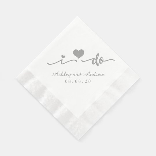 Grey and White I Do | Wedding Paper Napkin