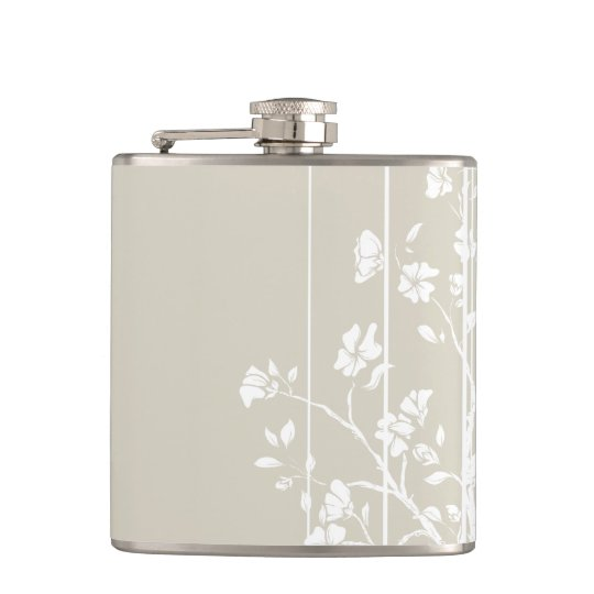Grey and White Japanese Floral Hip Flask