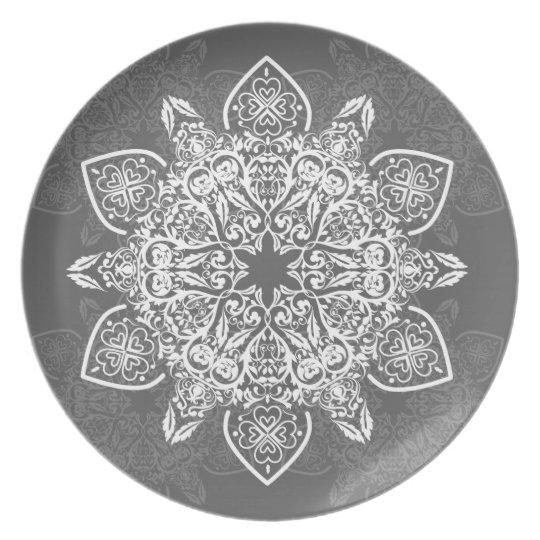 Grey and White Large Mandala | Melamine Plate