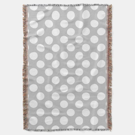 Grey and White Large Polka Dot Throw Blanket