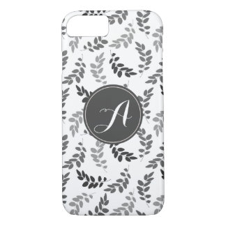 Grey and White Leaves with Custom Monogram iPhone 8/7 Case