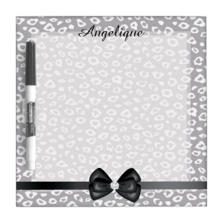 Grey and White Leopard Print Dry Erase Board