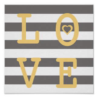 Grey and White LOVE Nursery Wall Print