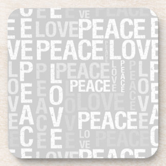 Grey and White Love Peace Typography Beverage Coasters