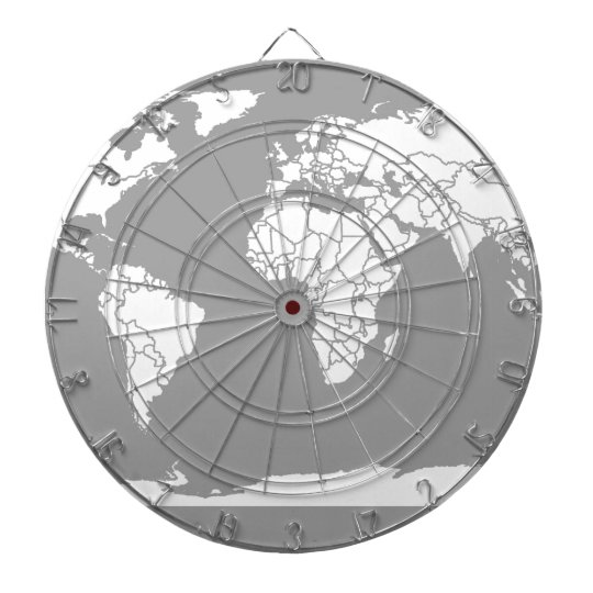Grey and White Map of the World Dart