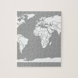 Grey and White Map of the World Jigsaw Puzzle