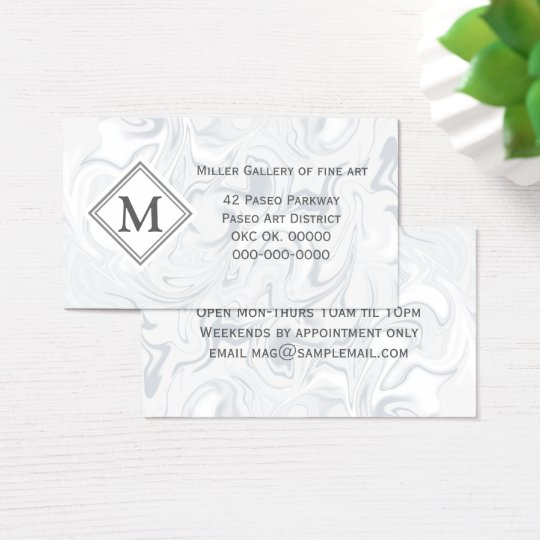 Grey and White Marble look with Diamond Monogram
