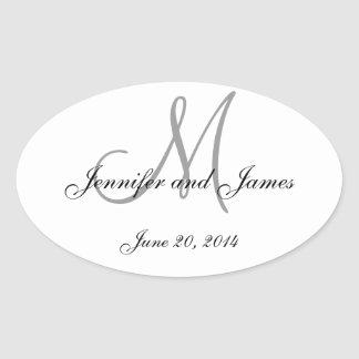 Grey and White Monogram Oval Wedding Labels Oval Sticker