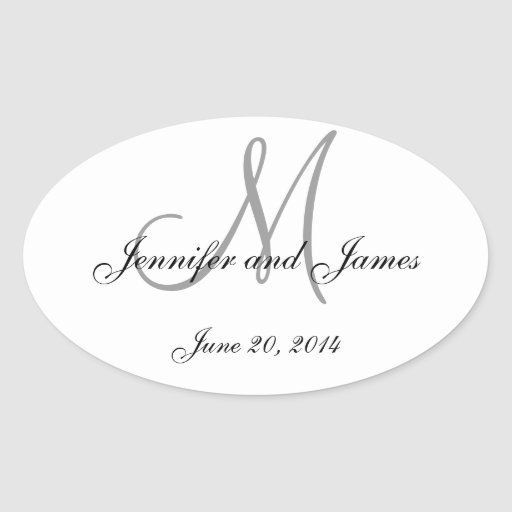 Grey and White Monogram Oval Wedding Labels Sticker