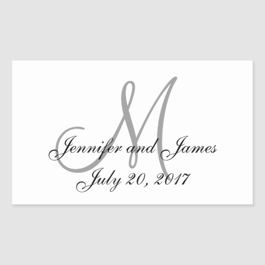 Grey and White Monogram Rectangle Wedding Labels
