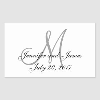 Grey and White Monogram Rectangle Wedding Labels Rectangular Sticker