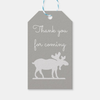 Grey and White Moose Nature Thank You Gift Tags